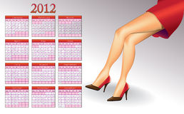 2012 calendar. With hot women�s legs Royalty Free Illustration