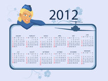 2012 calendar. Full editable 2012 vector calendar with a beautiful blonde stewardess with airplanes silhouette Royalty Free Stock Photos