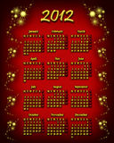 2012 calendar. Red and gold calendar for year 2012 stock illustration