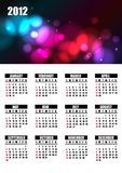 2012 calendar. With abstract background colors stock illustration
