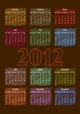 2012 Calendar. 2012 annual calendar template on the gray background. Weeks start on Sunday. EPS file available Stock Images