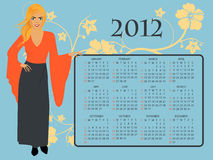 2012 Calendar. Full editable 2012 vector calendar with blonde girl in red dress, hibiscus flowers and floral ornaments Royalty Free Stock Photography