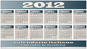 2012 calendar. Illustration of 2012 calendar with in italian Royalty Free Stock Image