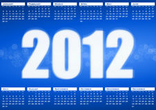 2012 calendar. On blue background royalty free illustration