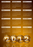 2012 calendar. On golden background royalty free illustration