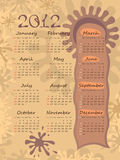 2012 calendar on blots. Poster. The week starts with Sunday. The decor is made of the blots. The sign of the tree Royalty Free Stock Photography