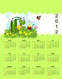 2012 calendar for children. 2012 illustrated calendar for children, with grasshopper Stock Photos