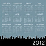 2012 calendar with city at background royalty free illustration