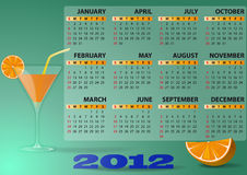 2012 calendar cocktail. Illustration of 2012 calendar with cocktail and orange Royalty Free Stock Image