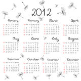 2012 calendar with dandelion seeds. Over white background Stock Photography