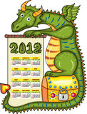 2012 calendar with green dragon. 2012 calendar. Green dragon sits on a gold chest with a scroll in paws vector illustration