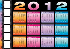 2012 calendar in italian and english. 2012 glossy calendar in italian and english with blank space for photos stock illustration