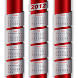 2012 calendar with metallic ribbons Royalty Free Stock Images