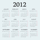 2012 calendar one page.  Royalty Free Stock Photo