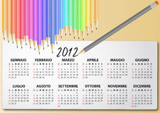 2012 calendar pencil, italian. Illustration of 2012 calendar with pencil, in italian Stock Photos