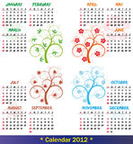 2012 calendar season tree. Illustration of 2012 calendar season tree Stock Images
