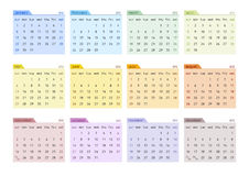2012 Calendar Starting Sunday (english). 2012 Vector Calendar in 12 Twelve Colors (starts on Sunday Vector Illustration