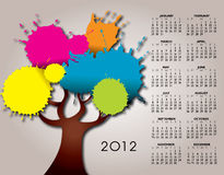 2012 calendar with tree. 2012 calendar with colorful tree design Stock Photos