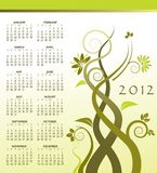 2012 calendar with vines. 2012 calendar with green vines growing Royalty Free Stock Photos