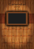 2012 calendar wood, photo frame. For your photos Stock Image