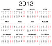 2012 Calender. Calender for 2012 year(Start on monday Royalty Free Stock Photos