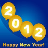 2012 card. 2012 on gold balloon over blue background, vector royalty free illustration