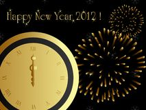 2012 card. With fireworks and midnight clock, eps8 vector illustration
