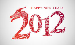 2012 card. Stylized inscription 2012 decorated with dragon head royalty free illustration
