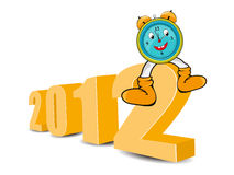 2012 cartoon clock. Numbers for the year 2012 with a cartoon alarm clock vector illustration
