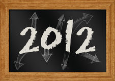 2012 on chalkboard. Illustration of 2012 with arrow on chalboard Stock Images