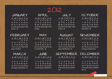 2012 chalkboard calendar. Illustration of 2012 calendar in chalkboard Stock Photo