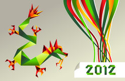 2012 Chinese calendar origami dragon. Single colorful China origami dragon with 2012 year on gray background.  Vector file available Stock Photo