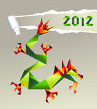 2012 Chinese origami dragon. Single colorful China origami dragon with 2012 year on gray background.  Vector file available Royalty Free Stock Photo