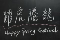 2012 Chinese Spring Festival. Chalkboard drawing - 2012 Chinese Spring Festival, the Chinese  blessing words means 'dragons rising and tigers leaping Stock Image