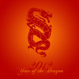 2012 Chinese Year of the Dragon. On Red Background Illustration Stock Image