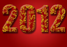 2012 Chinese Year of the Dragon Red Background. 2012 Number with Chinese Year of the Dragon Design Red Background Royalty Free Stock Image
