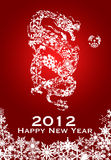 2012 Chinese Year of Dragon Snowflakes Red Stock Image