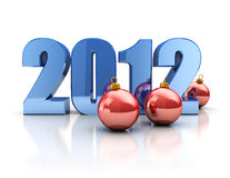 2012 christmas. Abstract 3d illustration of 2012 year sign with xmas balls, over white background Stock Photo