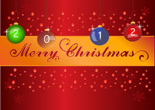 2012 Christmas. Christmas background with red gradient and swirls Stock Photos