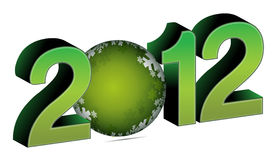 2012 with christmas bauble Royalty Free Stock Images
