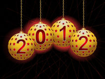 2012 Christmas baubles2. Yellow baubles spelling out '2012' with glowing laser lights on a black background vector illustration