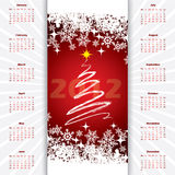 2012 christmas calendar. With christmas tree and snowflakes Royalty Free Stock Photo