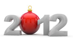 2012 with christmas tree ball. Year 2012 in 3D letters with red christmas tree ball as Zero Royalty Free Stock Photography
