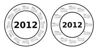 2012 Circle Calendars. A set of 2012 circle calendars Royalty Free Stock Images