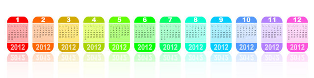 2012 colorful calendar. On white background Royalty Free Stock Photography