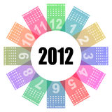 2012 colorful calendar. Round illustration Royalty Free Stock Photo