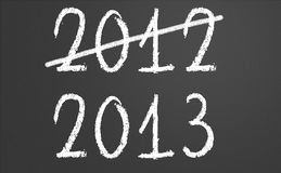 2012 crossed and new year 2013 on chalkboard. 2012 crossed and new year 2013 written on chalkboard Royalty Free Stock Photo