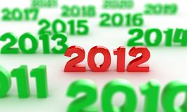 2012 date. Illustration of red numbers 2012 among other dates Vector Illustration