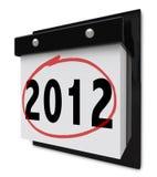 2012 - de Kalender die van de Muur de Datum van het Nieuwjaar toont Stock Afbeeldingen
