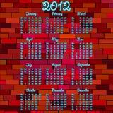 2012 de kalender van het Neon Royalty-vrije Stock Fotografie